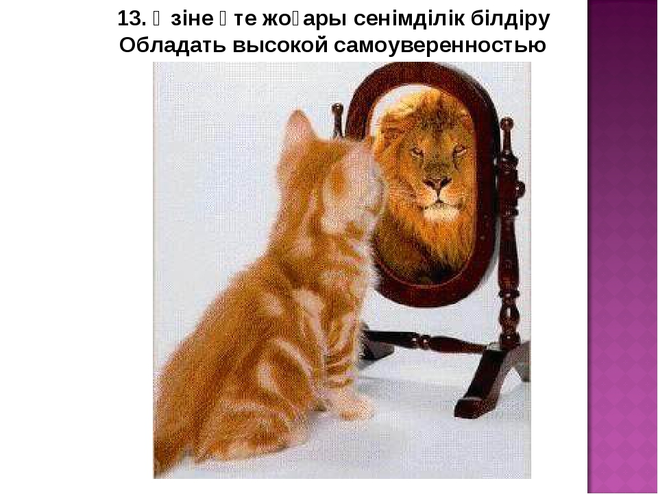 13. Өзіне өте жоғары сенімділік білдіру Обладать высокой самоуверенностью