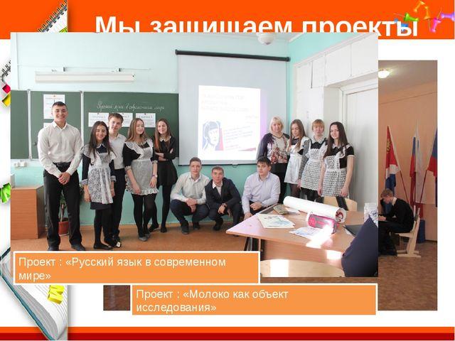 Мы защищаем проекты Проект : «Русский язык в современном мире» Проект : «Моло...