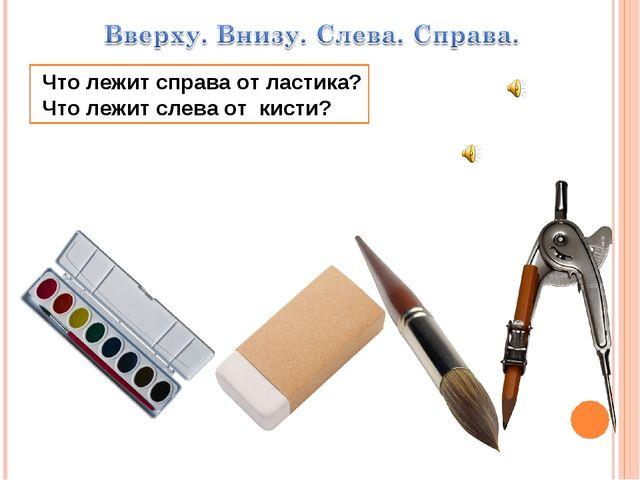 Что лежит справа от ластика? Что лежит слева от кисти?