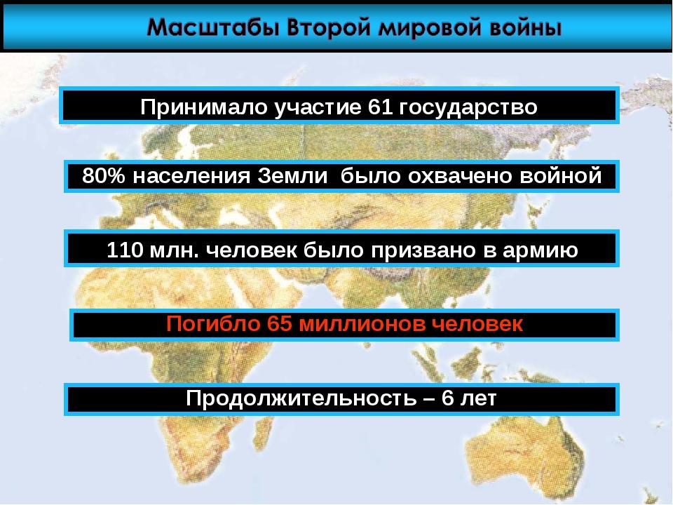 Принимало участие 61 государство 80% населения Земли было охвачено войной 110...