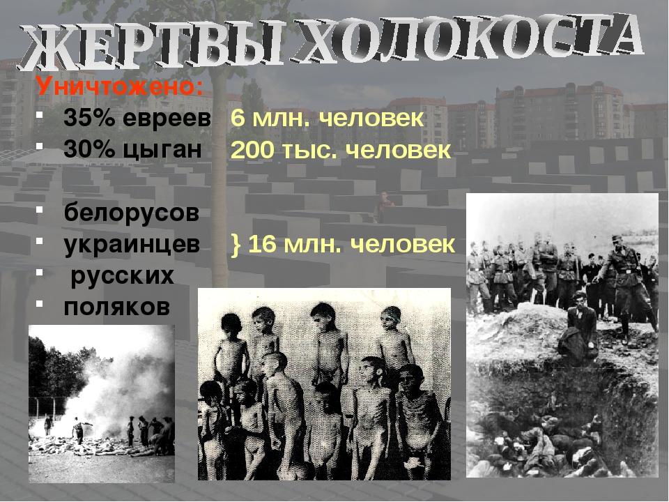 Уничтожено: 35% евреев 30% цыган белорусов украинцев русских поляков 6 млн. ч...