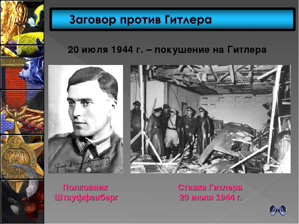 20 июля 1944 г. – покушение на Гитлера Полковник Штауффенберг Ставка Гитлера...