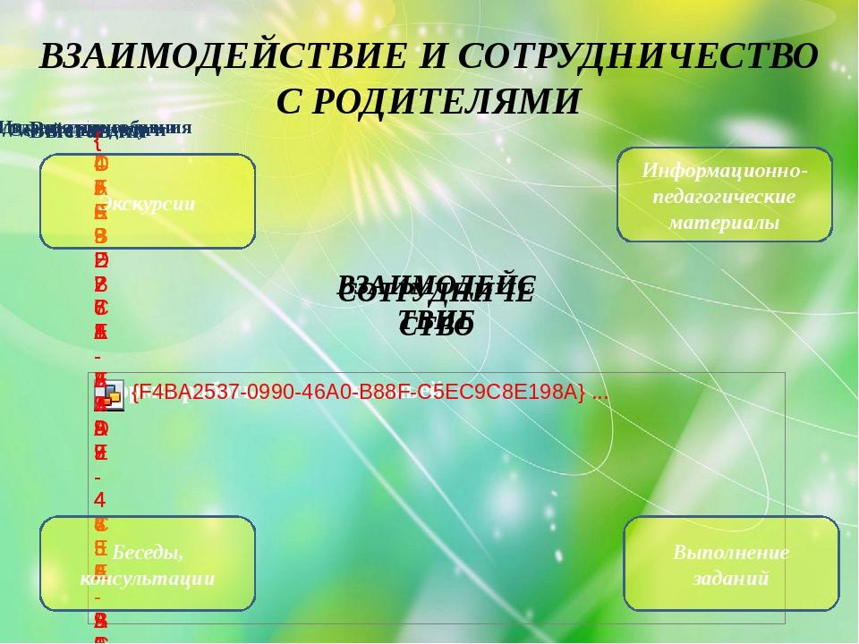 ВЗАИМОДЕЙСТВИЕ И СОТРУДНИЧЕСТВО С РОДИТЕЛЯМИ Информационно-педагогические мат...