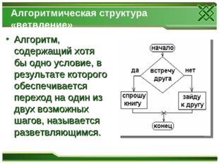 Алгоритмическая структура «ветвление» Алгоритм, содержащий хотя бы одно услов