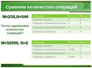 Сравним количество операций M=238,N=544 Почти одинаковое количество операций?