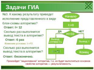 Задачи ГИА №3. К какому результату приведет исполнение представленного в виде