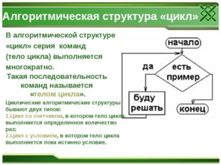 Алгоритмическая структура «цикл» В алгоритмической структуре «цикл» серия ком