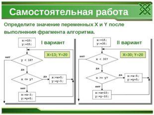 Самостоятельная работа Определите значение переменных X и Y после выполнения