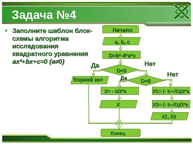 Задача №4 Заполните шаблон блок-схемы алгоритма исследования квадратного урав...