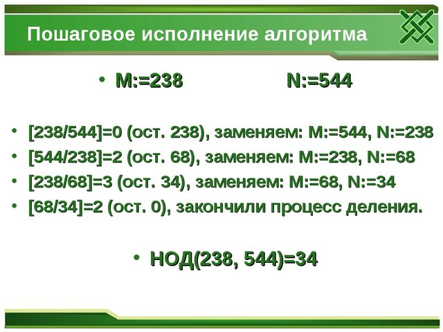 Пошаговое исполнение алгоритма M:=238 N:=544 [238/544]=0 (ост. 238), заменяем...