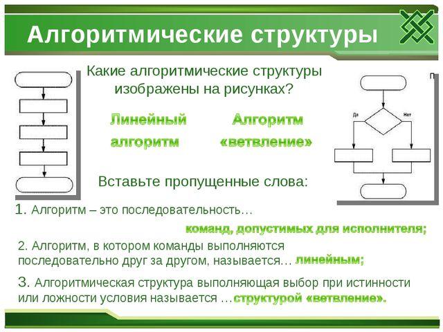 Алгоритмические структуры Какие алгоритмические структуры изображены на рисун...