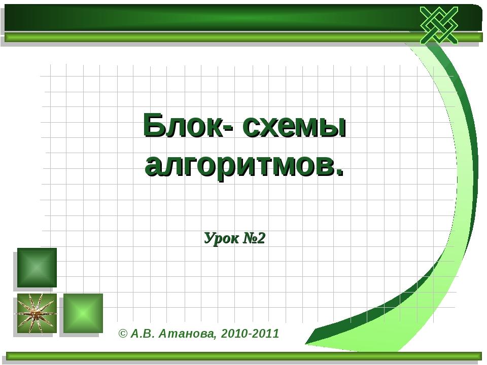 Урок №2 Блок- схемы алгоритмов. © А.В. Атанова, 2010-2011