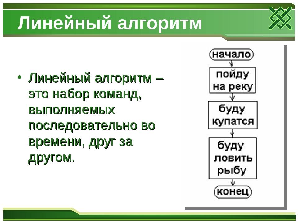 Линейный алгоритм Линейный алгоритм – это набор команд, выполняемых последова...