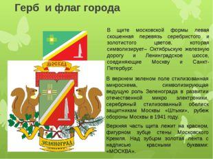 Герб и флаг города В щите московской формы левая скошенная перевязь серебрист