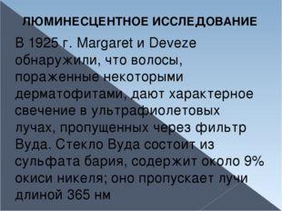 ЛЮМИНЕСЦЕНТНОЕ ИССЛЕДОВАНИЕ В 1925 г. Margaret и Deveze обнаружили, что волос