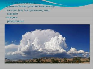 Это облака нижнего яруса. Кучевые облака делят на четыре вида: -плоские (как