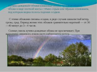 Ку́чево-дождевы́е облака́(ливневые облака, грозовыеоблака)—облакав виде п