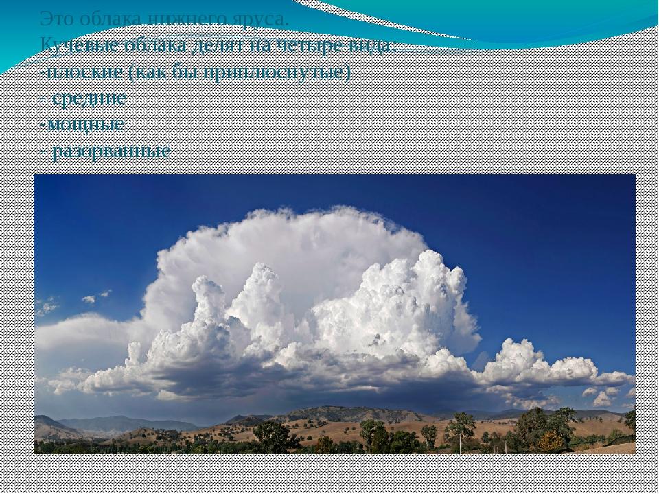 Это облака нижнего яруса. Кучевые облака делят на четыре вида: -плоские (как...