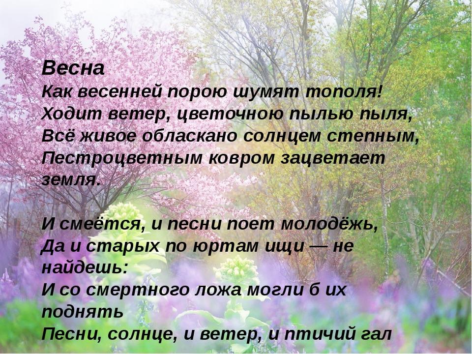 Весна Как весенней порою шумят тополя! Ходит ветер, цветочною пылью пыля, В...