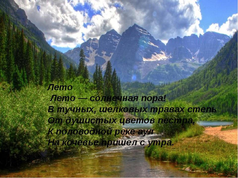 Лето Лето— солнечная пора! В тучных, шелковых травах степь От душистых цвет...
