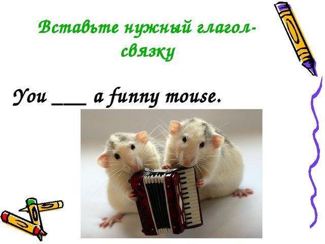 Вставьте нужный глагол-связку You ___ a funny mouse.