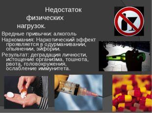 Недостаток физических нагрузок. Вредные привычки: алкоголь Наркомания: Нарко