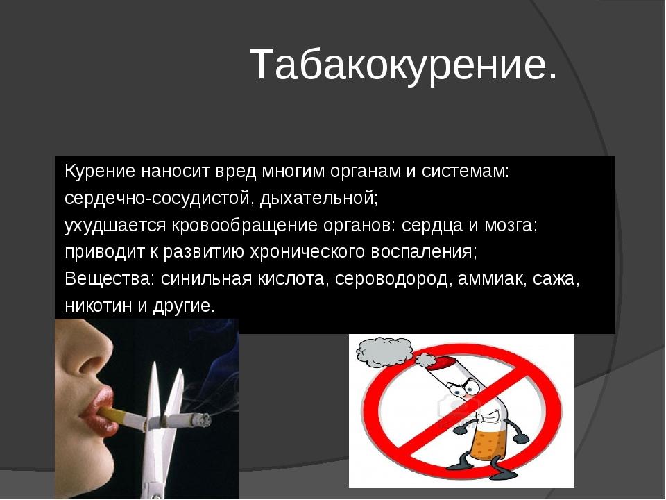Табакокурение. Курение наносит вред многим органам и системам: сердечно-сосу...