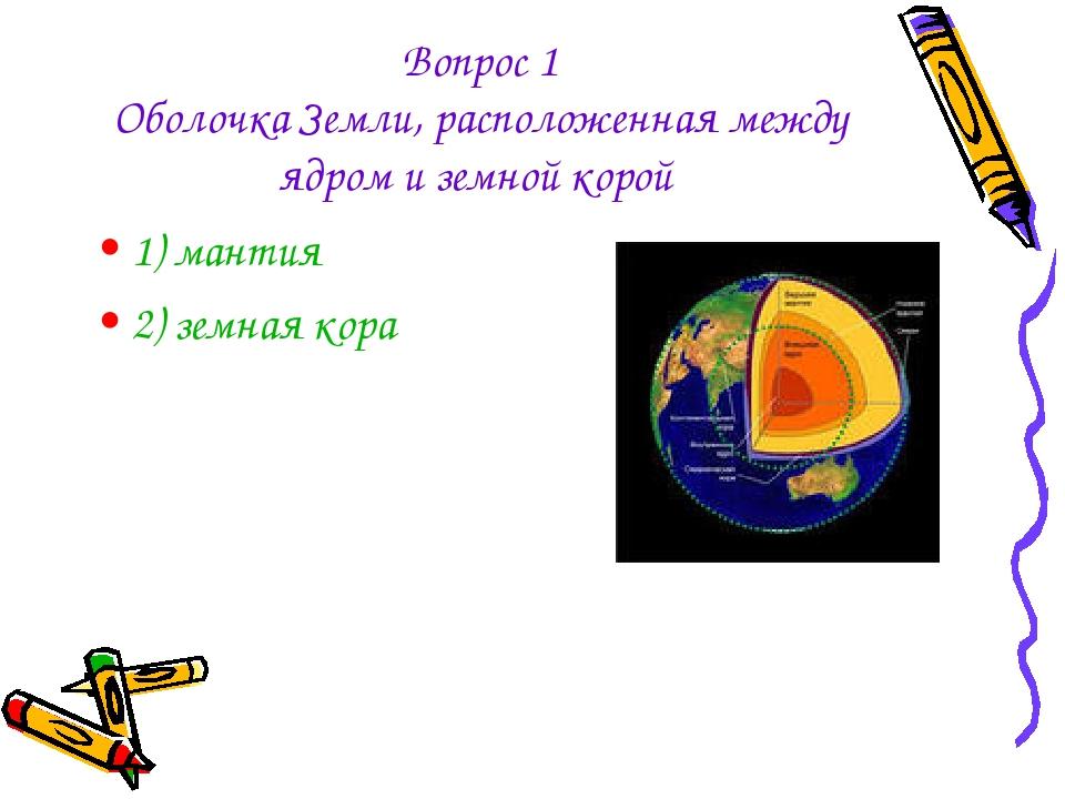 Вопрос 1 Оболочка Земли, расположенная между ядром и земной корой 1) мантия 2...
