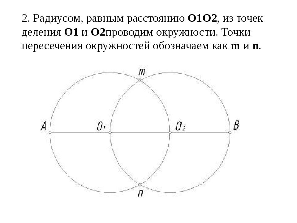2. Радиусом, равным расстояниюО1О2, из точек деленияО1иО2проводим окружно...