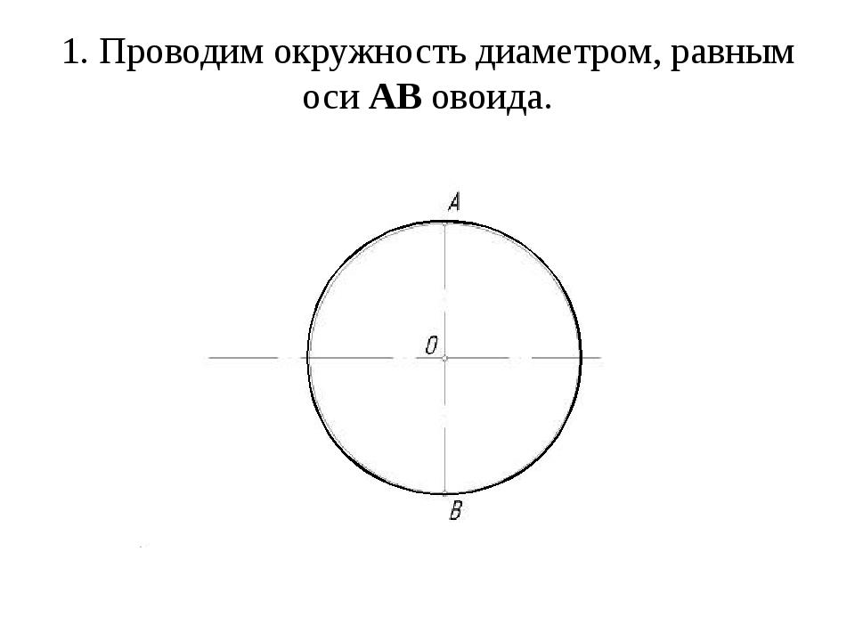 1. Проводим окружность диаметром, равным осиАВовоида.