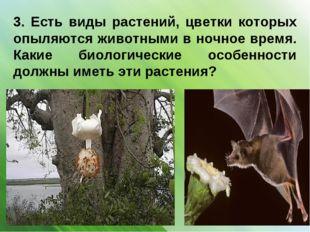 3. Есть виды растений, цветки которых опыляются животными в ночное время. Как