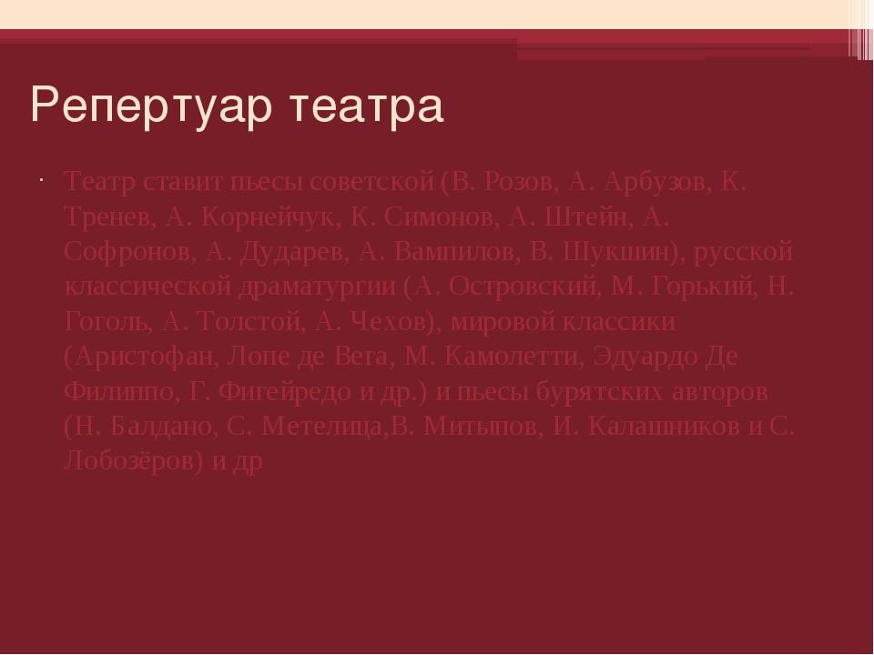 Репертуар театра Театр ставит пьесы советской (В. Розов, А. Арбузов, К. Трене...
