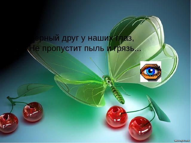 Верный друг у наших глаз, Не пропустит пыль и грязь...