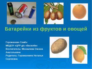 Батарейки из фруктов и овощей Горожанкин Семён МБДОУ «ЦРР-д/с «Василёк» Воспи