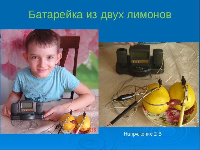 Батарейка из двух лимонов Напряжение 2 В