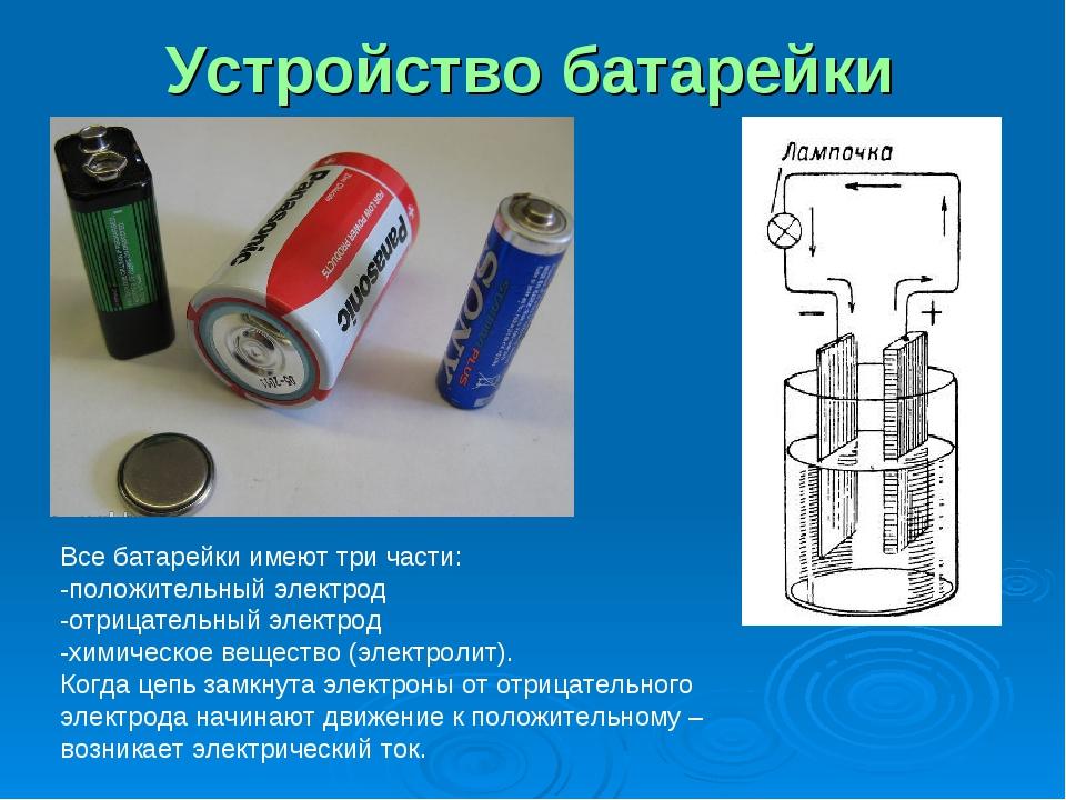 Устройство батарейки Все батарейки имеют три части: -положительный электрод -...