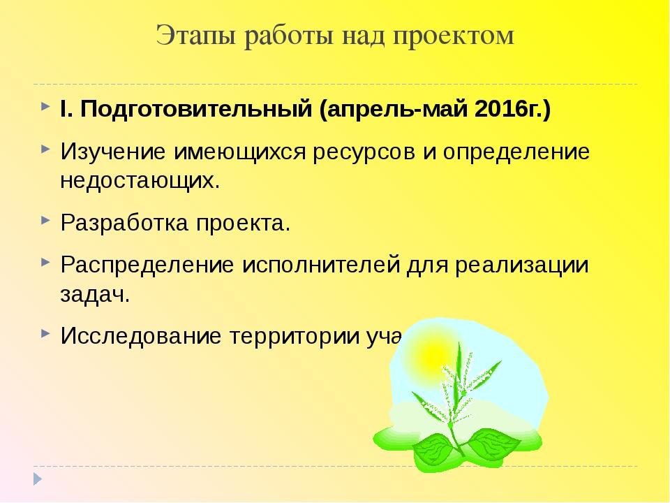 Этапы работы над проектом I. Подготовительный (апрель-май 2016г.) Изучение им...