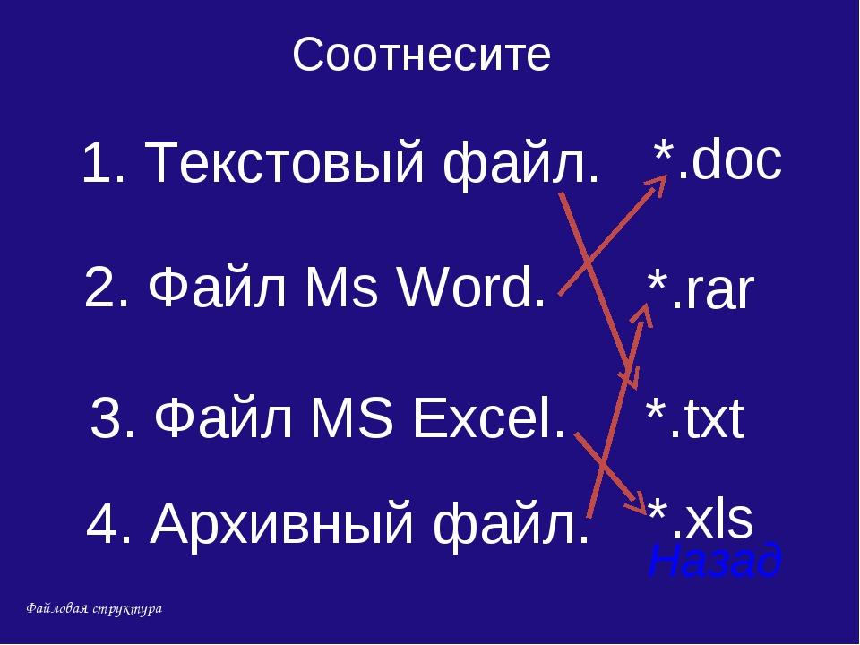 4. Архивный файл. Назад 2. Файл Ms Word. 3. Файл MS Excel. 1. Текстовый файл....