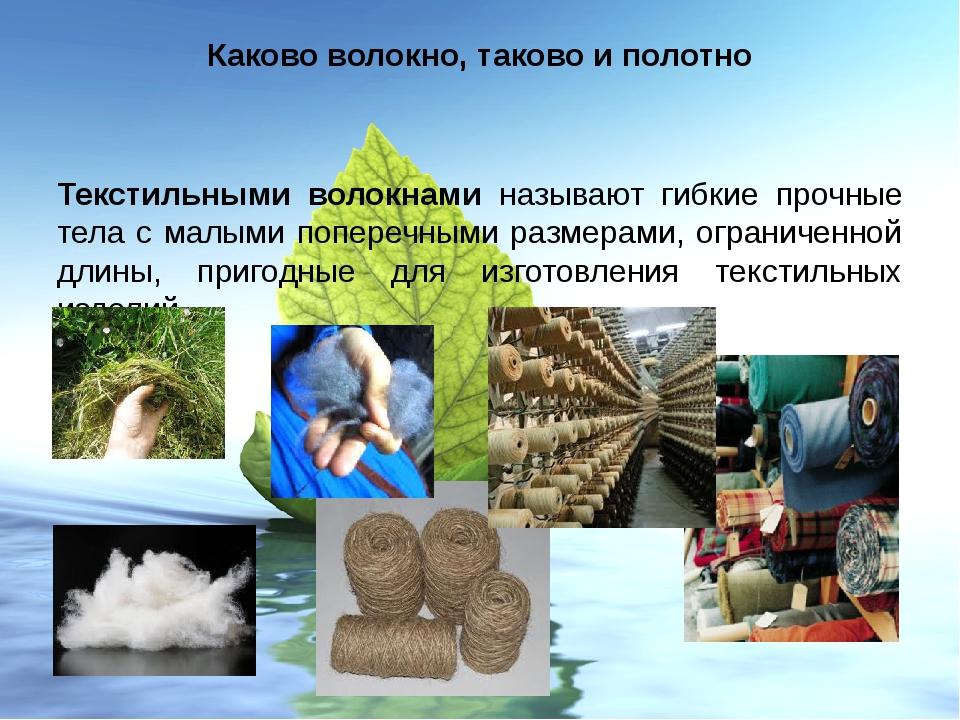 Каково волокно, таково и полотно Текстильными волокнами называют гибкие прочн...