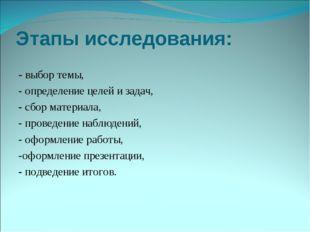 Этапы исследования: - выбор темы, - определение целей и задач, - сбор материа