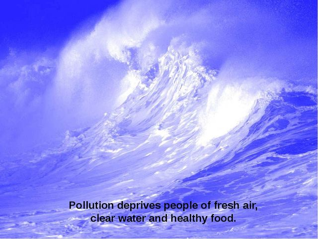 Pollution deprives people of fresh air, clear water and healthy food.