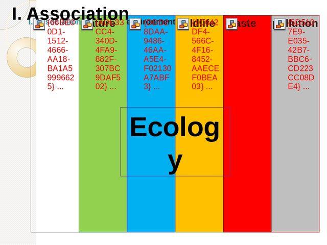 Ecology I. Association