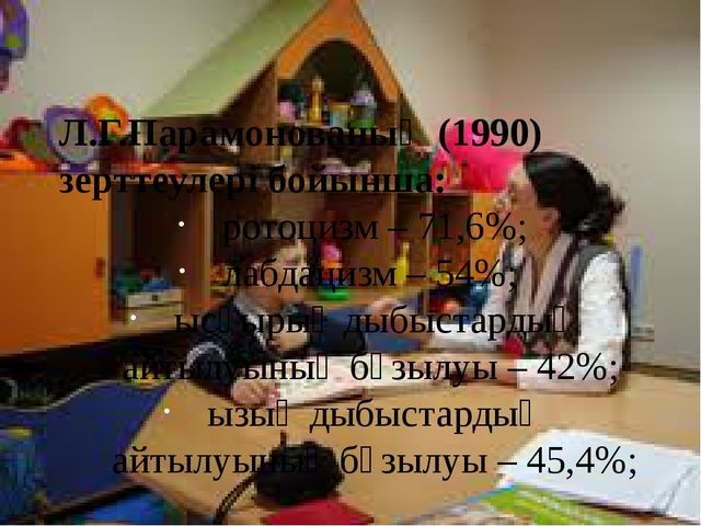 Л.Г.Парамонованың (1990) зерттеулері бойынша: ротоцизм – 71,6%; лабдацизм –...