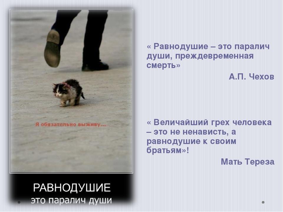 « Равнодушие – это паралич души, преждевременная смерть» А.П. Чехов « Велича...