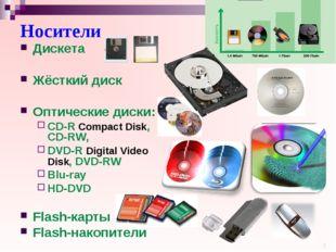 Носители Дискета Жёсткий диск Оптические диски: CD-R Compact Disk, CD-RW, DVD