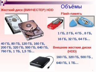 Объёмы 40 ГБ, 80 ГБ, 120 ГБ, 160 ГБ, 200 ГБ, 320 ГБ, 500 ГБ, 640 ГБ, 760 ГБ,
