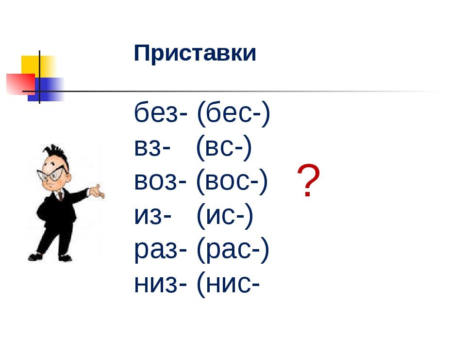 Приставки без- (бес-) вз- (вс-) воз- (вос-) из- (ис-) раз- (рас-) низ- (нис- ?