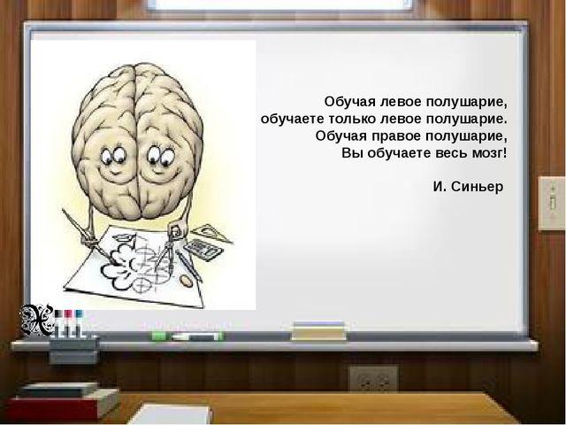 Обучая левое полушарие, Вы обучаете только левое полушарие. Обучая правое по...