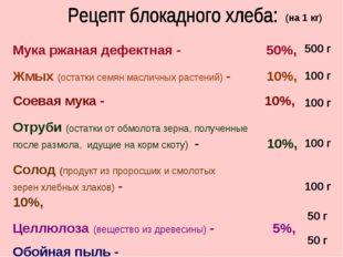 Мука ржаная дефектная - 50%, Жмых (остатки семян масличных растений) - 10%, С