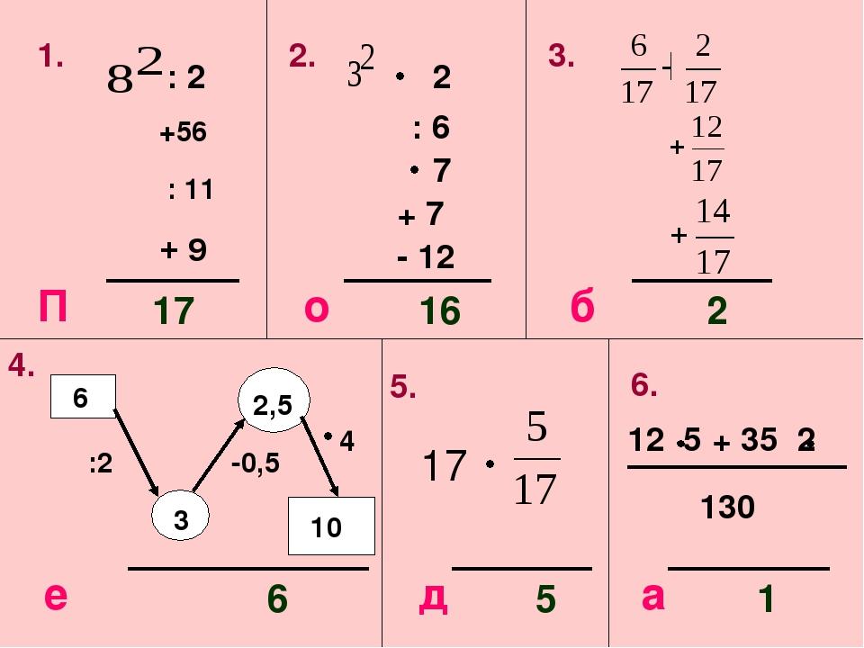 1. : 2 +56 : 11 2. 2 : 6 7 + 7 - 12 3. 17 16 2 4. :2 -0,5 4 10 6 5. 12 5 + 35...